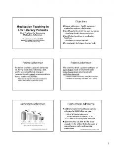Medication Teaching in Low Literacy Patients Best Practices for Improving Medication Adherence