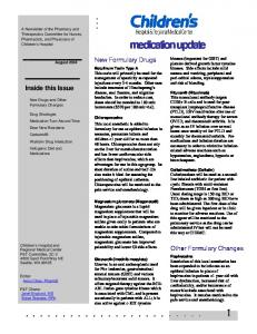 medication update Inside this Issue