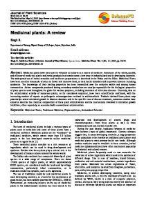 Medicinal plants: A review