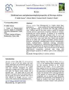 Medicinal uses and pharmacological properties of Moringa oleifera