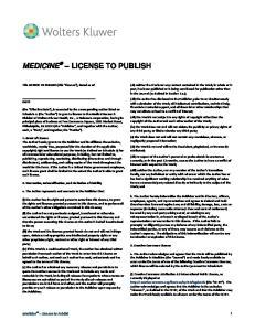 MEDICINE LICENSE TO PUBLISH