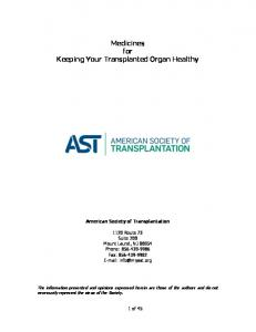 Medicines for Keeping Your Transplanted Organ Healthy