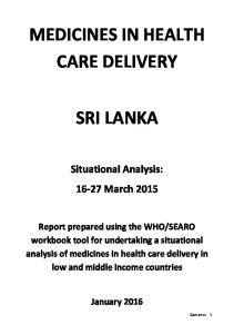 MEDICINES IN HEALTH CARE DELIVERY SRI LANKA