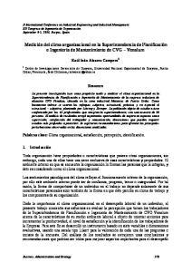 Medición del clima organizacional en la Superintendencia de Planificación e Ingeniería de Mantenimiento de CVG Venalum