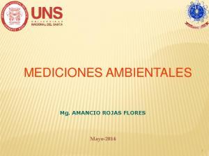 MEDICIONES AMBIENTALES. Mg. AMANCIO ROJAS FLORES