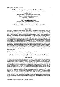 Mediciones de espesor en glaciares de Chile centro-sur