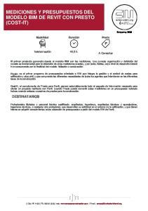 MEDICIONES Y PRESUPUESTOS DEL MODELO BIM DE REVIT CON PRESTO (COST-IT)