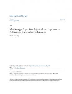 Medicolegal Aspects of Injuries from Exposure to X-Rays and Radioactive Substances