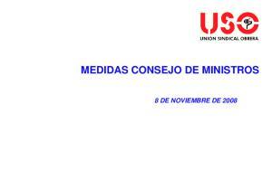 MEDIDAS CONSEJO DE MINISTROS 8 DE NOVIEMBRE DE 2008