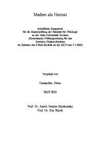 Medien als Heimat. Dausacker, Alena Prof. Dr. Astrid Deuber-Mankowsky Prof. Dr. Eva Warth