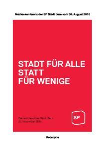 Medienkonferenz der SP Stadt Bern vom 30. August 2016