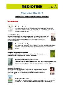 MEDIOTHEK. Newsletter Mai Highlights aus den Neuanschaffungen der Mediothek