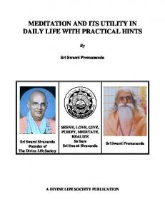 MEDITATION AND ITS UTILITY IN DAILY LIFE WITH PRACTICAL HINTS