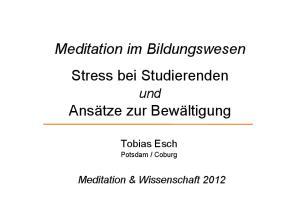 Meditation im Bildungswesen Stress bei Studierenden