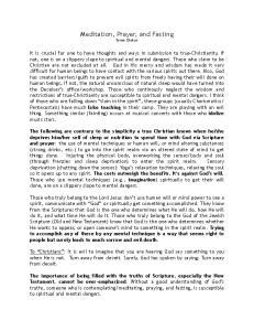 Meditation, Prayer, and Fasting