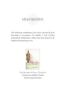 MEDITATIONS THE BUDDHA IS STILL TEACHING