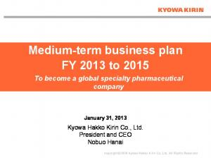 Medium-term business plan FY 2013 to 2015