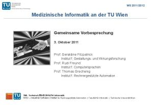 Medizinische Informatik an der TU Wien