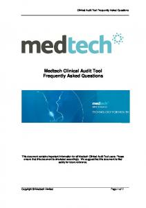 Medtech Clinical Audit Tool Frequently Asked Questions