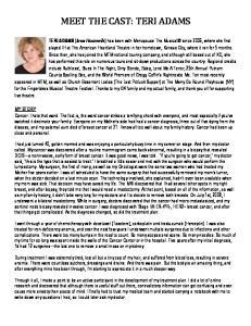 MEET THE CAST: TERI ADAMS