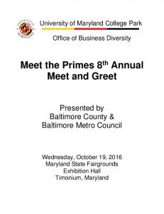 Meet the Primes 8 th Annual Meet and Greet