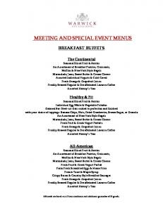 MEETING AND SPECIAL EVENT MENUS
