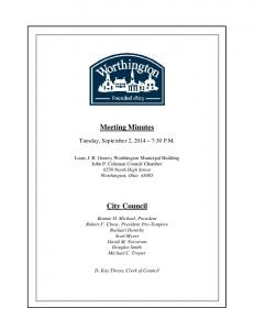 Meeting Minutes. City Council