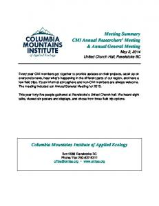 Meeting Summary CMI Annual Researchers Meeting & Annual General Meeting