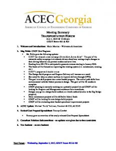 Meeting Summary TRANSPORTATION FORUM July 1, 12:00 pm GDOT Room 401 & 402