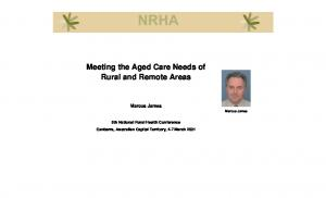 Meeting the Aged Care Needs of Rural and Remote Areas