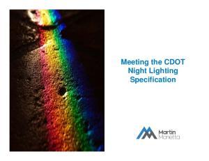 Meeting the CDOT Night Lighting Specification