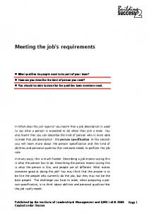 Meeting the job s requirements