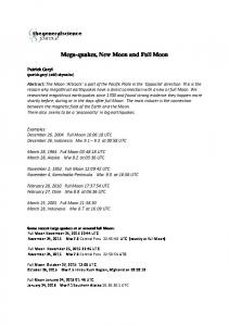 Mega-quakes, New Moon and Full Moon