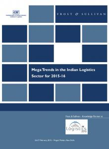 Mega Trends in the Indian Logistics Sector for