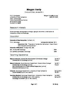 Megan Henly. Curriculum Vitae: January 2014