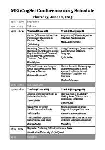 MEi:CogSci Conference 2015 Schedule