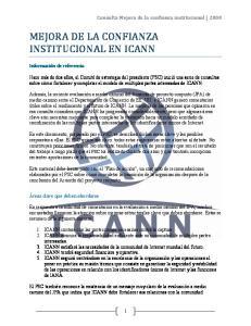 MEJORA DE LA CONFIANZA INSTITUCIONAL EN ICANN
