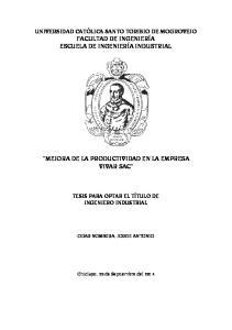 MEJORA DE LA PRODUCTIVIDAD EN LA EMPRESA VIVAR SAC