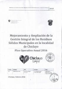 Mejoramiento y Ampliacion de la Gestion Integral de los Residuos S6lidos Municipales en la localidad de Chiclayo