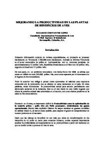 MEJORANDO LA PRODUCTIVIDAD EN LAS PLANTAS DE BENEFICIOS DE AVES