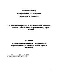 Mekelle University College Business and Economics Department of Economics