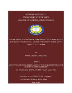 MEKELLE UNIVERSITY DEPARTMENT OF ECONOMICS COLLEGE OF BUSINESS AND ECONOMICS