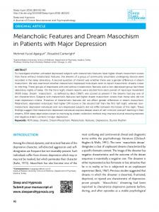 Melancholic Features and Dream Masochism in Patients with Major Depression