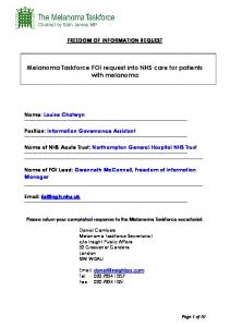 Melanoma Taskforce FOI request into NHS care for patients with melanoma