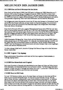 MELDUNGEN DES JAHRES 2005: