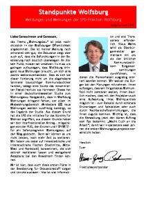 Meldungen und Meinungen der SPD-Fraktion Wolfsburg