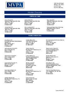 Member Directory CRITICAL CARE. Pulmonary & Sleep Center of the Valley. Pulmonary & Sleep Center of the Valley FAMILY MEDICINE