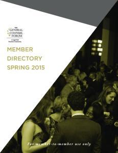 MEMBER DIRECTORY SPRING 2015