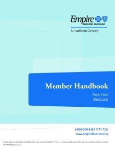 Member Handbook. New York Medicaid (TTY 711)