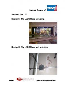 Member Service of: Section II: The LEDS Rules for Listing